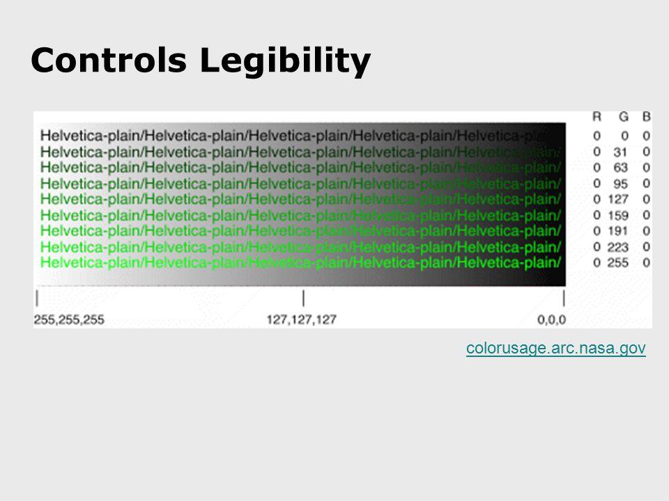 Controls Legibility colorusage.arc.nasa.gov