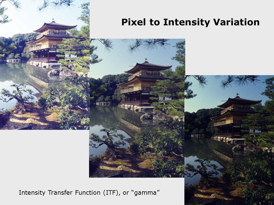 "Pixel to Intensity Variation Intensity Transfer Function (ITF), or ""gamma"""