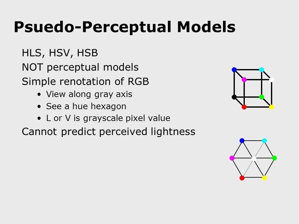 Psuedo-Perceptual Models HLS, HSV, HSB NOT perceptual models Simple renotation of RGB View along gray axis See a hue hexagon L or V is grayscale pixel