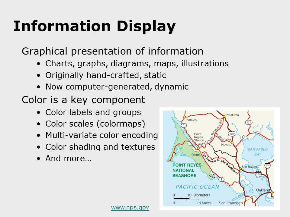 Information Display Graphical presentation of information Charts, graphs, diagrams, maps, illustrations Originally hand-crafted, static Now computer-g