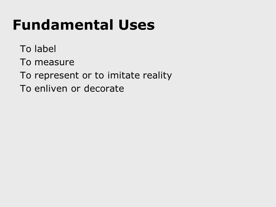 Fundamental Uses To label To measure To represent or to imitate reality To enliven or decorate