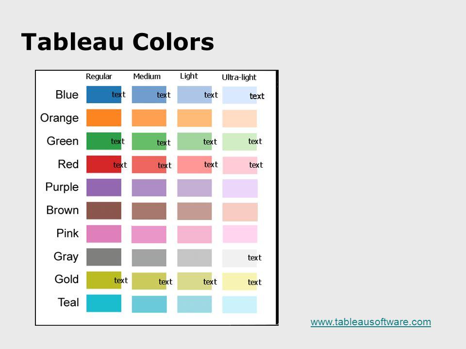 Tableau Colors www.tableausoftware.com