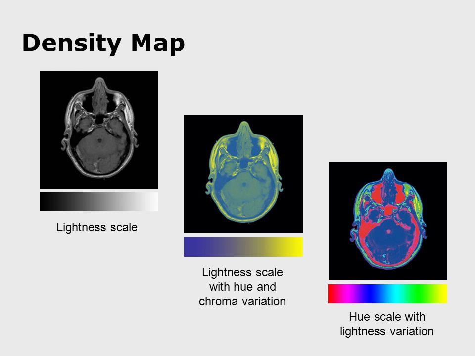 Density Map Lightness scale Lightness scale with hue and chroma variation Hue scale with lightness variation