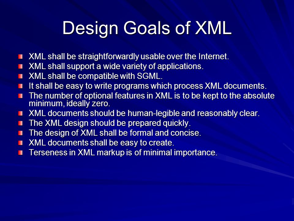 XML Format XML contains elements, attributes, and data.