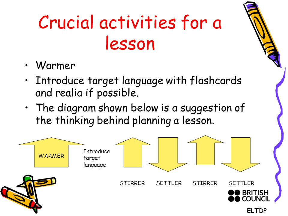 Crucial activities for a lesson Warmer Introduce target language with flashcards and realia if possible.