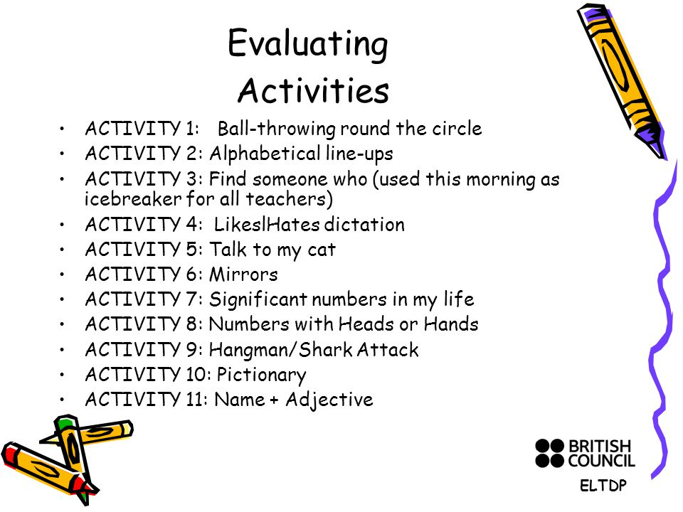 Evaluating Activities ACTIVITY 1: Ball-throwing round the circle ACTIVITY 2: Alphabetical line-ups ACTIVITY 3: Find someone who (used this morning as icebreaker for all teachers) ACTIVITY 4: LikeslHates dictation ACTIVITY 5: Talk to my cat ACTIVITY 6: Mirrors ACTIVITY 7: Significant numbers in my life ACTIVITY 8: Numbers with Heads or Hands ACTIVITY 9: Hangman/Shark Attack ACTIVITY 10: Pictionary ACTIVITY 11: Name + Adjective ELTDP