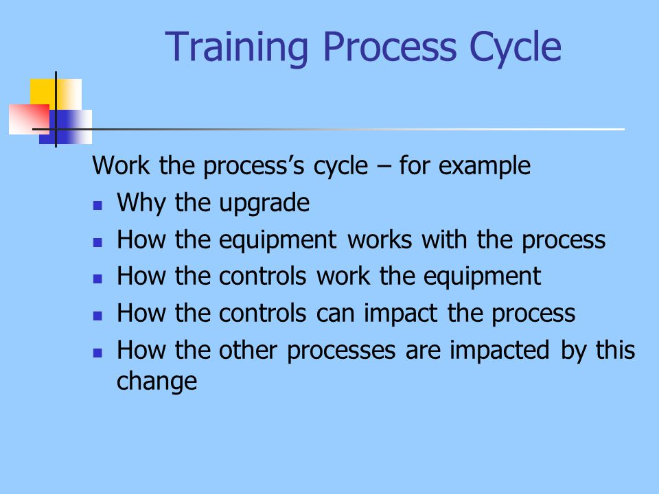 Training Process Cycle Process Theory How Component fits the process How Component impacts other processes SOPs and Guidelines Optimization