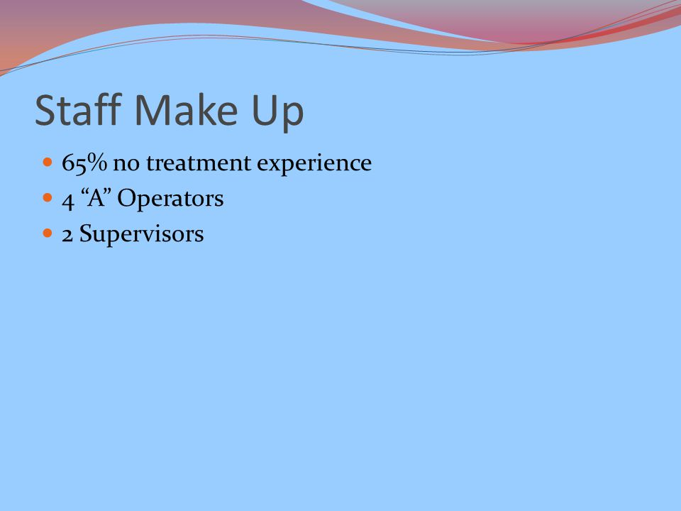 Staff Make Up 65% no treatment experience 4 A Operators 2 Supervisors