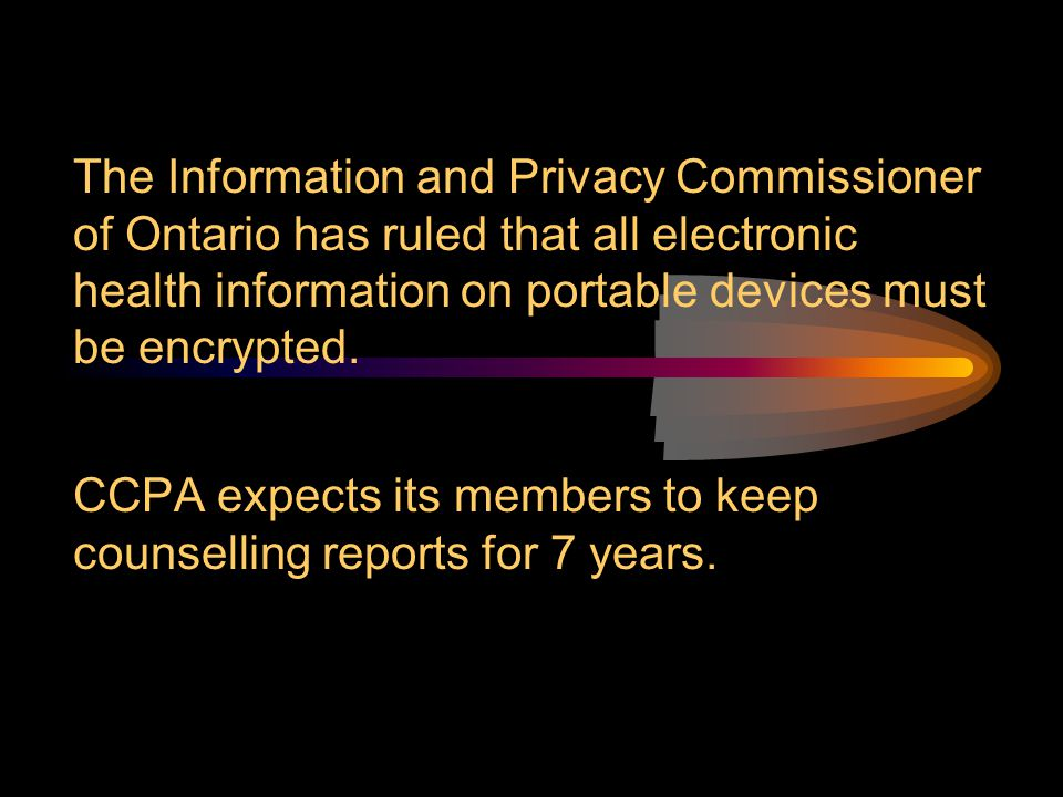 The Information and Privacy Commissioner of Ontario has ruled that all electronic health information on portable devices must be encrypted. CCPA expec