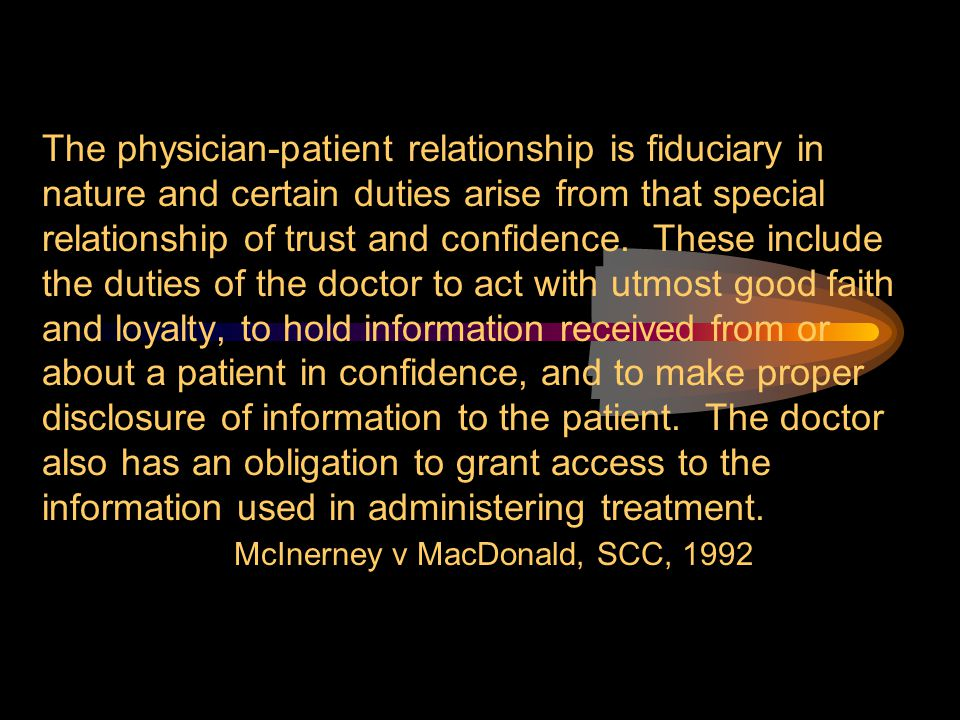 The physician-patient relationship is fiduciary in nature and certain duties arise from that special relationship of trust and confidence. These inclu