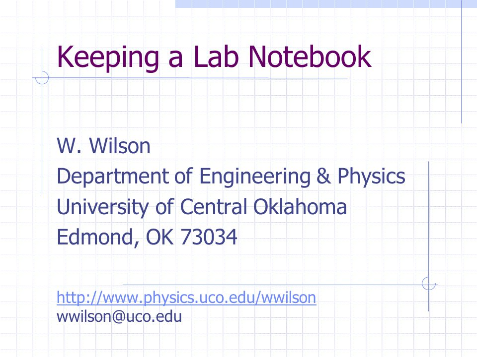 Keeping a Lab Notebook W.
