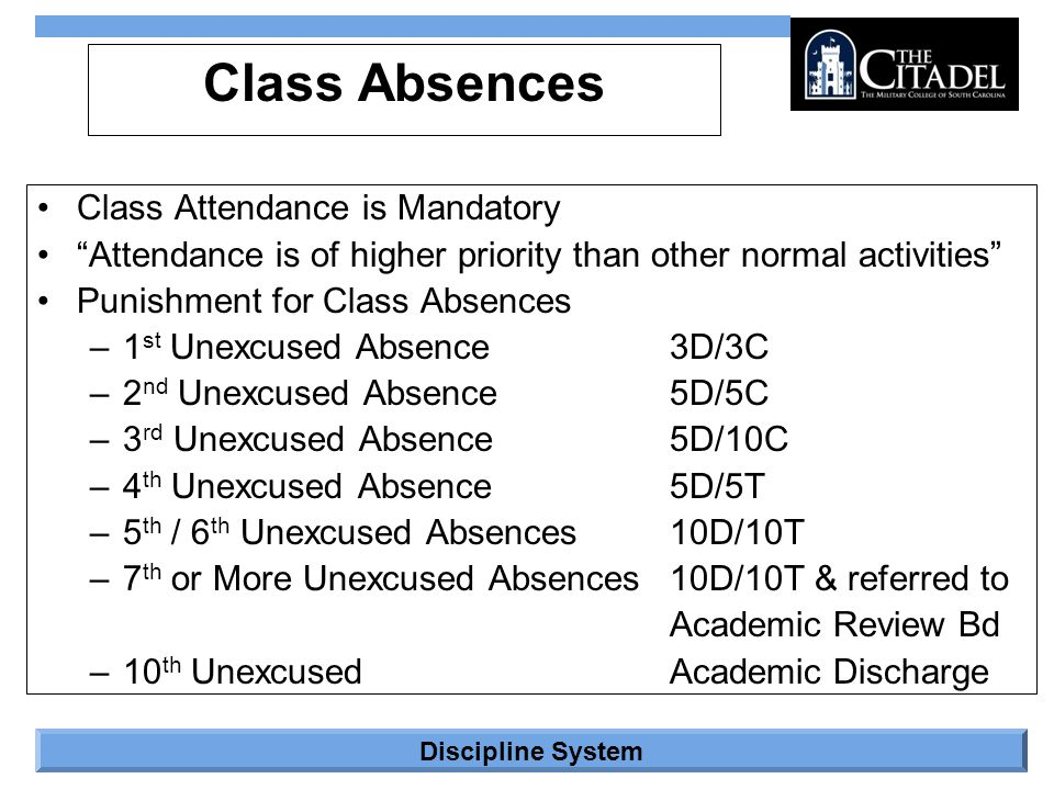 """Discipline System Class Absences Class Attendance is Mandatory """"Attendance is of higher priority than other normal activities"""" Punishment for Class Ab"""