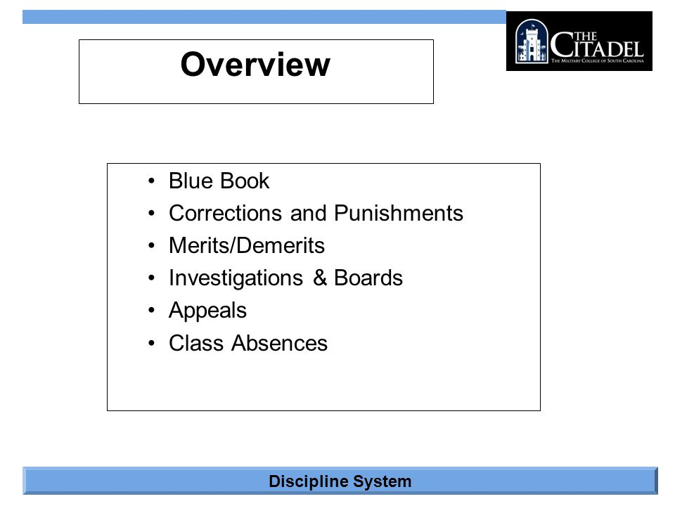 Discipline System Blue Book Regulations issued for the South Carolina Corps of Cadets –Sections Introduction Command, Control, and Organization Cadet Life Dining Hall Procedures Inspections Cadet Uniform Policies Discipline –Annex A – Merits –Annex B – Punishments