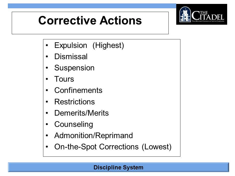 Discipline System Corrective Actions Expulsion(Highest) Dismissal Suspension Tours Confinements Restrictions Demerits/Merits Counseling Admonition/Rep