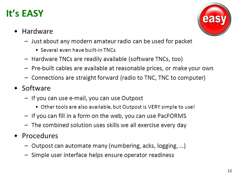Hardware –Just about any modern amateur radio can be used for packet Several even have built-in TNCs –Hardware TNCs are readily available (software TN