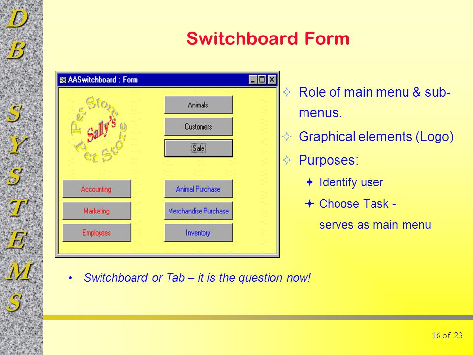 DBSYSTEMS 16 of 23 Switchboard Form  Role of main menu & sub- menus.