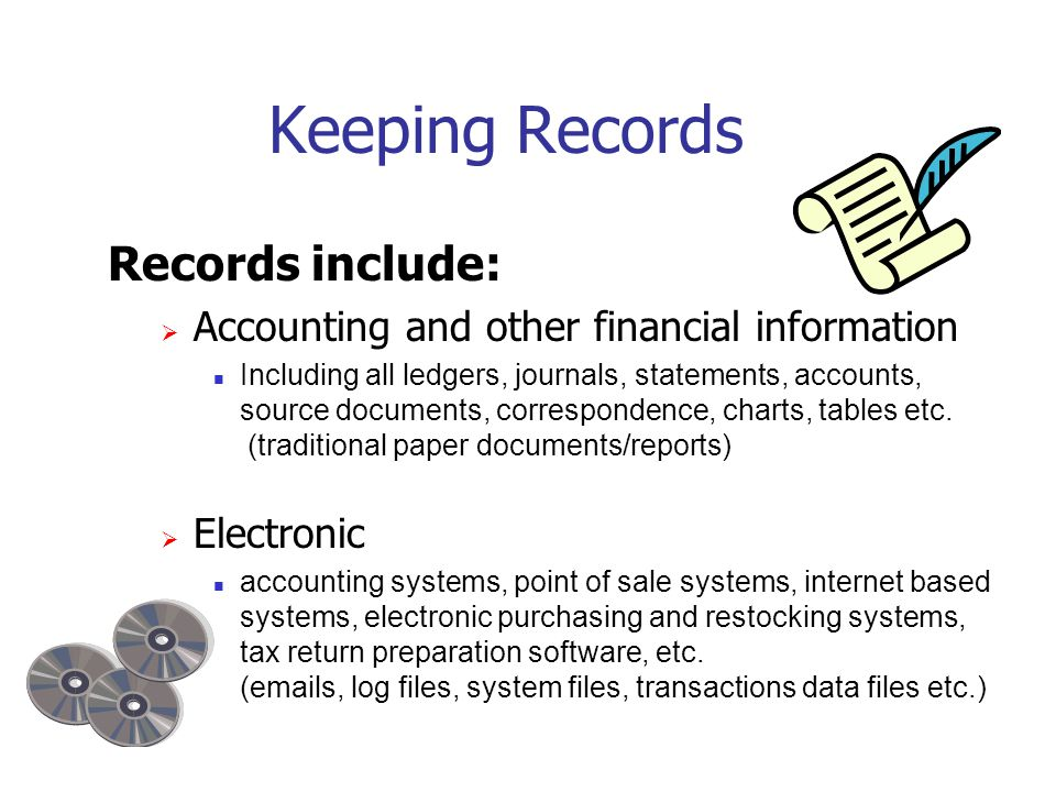 New and Revised Publications  Guides · RC4409 Keeping Records  GST/HST Memoranda Series · 15.1 General Requirements for Books and Records · 15.2 Computerized Records  Information Circulars · IC78 ‑ 10 Books and Records Retention/Destruction · IC05-1 Electronic Record Keeping These publications are available at www.cra.gc.ca/forms: www.cra.gc.ca/forms