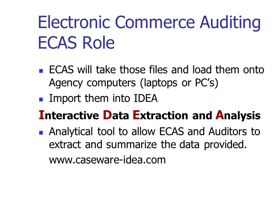 Electronic Commerce Auditing ECAS Role ECAS will make contact and arrange a meeting and ask some questions. ECAS will identify the files that are need