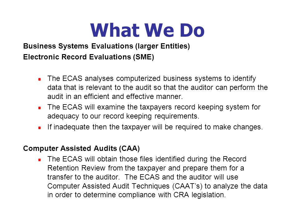 What We Do Business Systems Evaluations (larger Entities) Electronic Record Evaluations (SME) The ECAS analyses computerized business systems to identify data that is relevant to the audit so that the auditor can perform the audit in an efficient and effective manner.