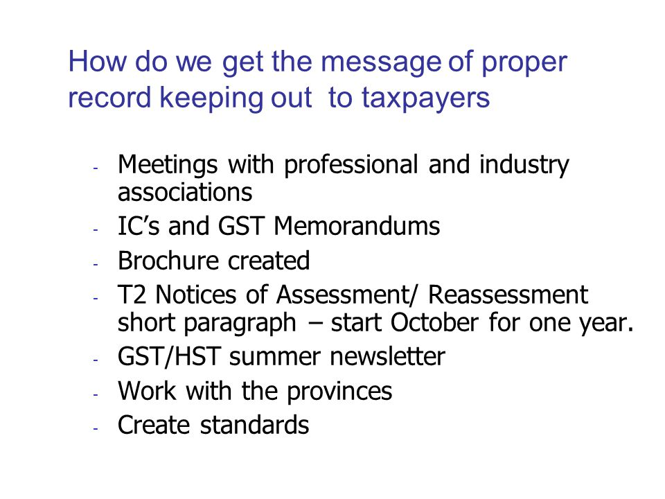 challenge faced by small business regarding electronic record keeping is primarily a lack of knowledge and awareness of CRA requirements education is important; to accomplish this, develop publications that use plain language and offer clear explanations different formats, including CRA notices of assessment sent to businesses, could be used to deliver the message CRA should focus on the benefit to the small business clients that they serve and who are ultimately responsible for the books and records work with software developers to ensure that minimum standards on electronic record keeping are taken into consideration when they are developing their products whether software is compliant with CRA standards should be transparent to their potential customers.