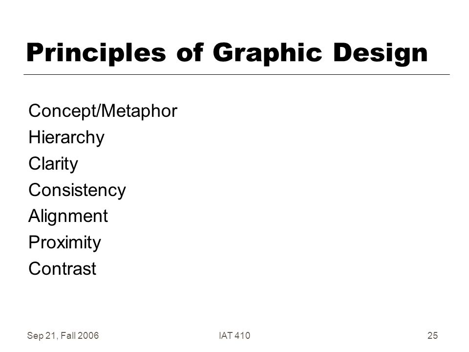 Sep 21, Fall 2006IAT 41025 Principles of Graphic Design Concept/Metaphor Hierarchy Clarity Consistency Alignment Proximity Contrast