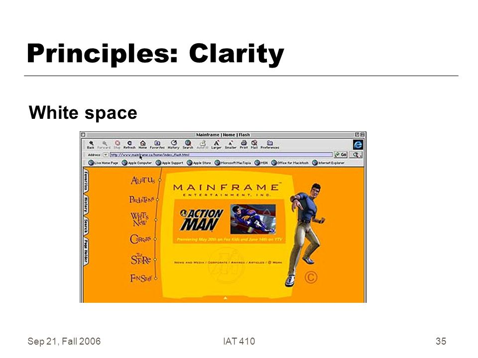 Sep 21, Fall 2006IAT 41035 Principles: Clarity White space