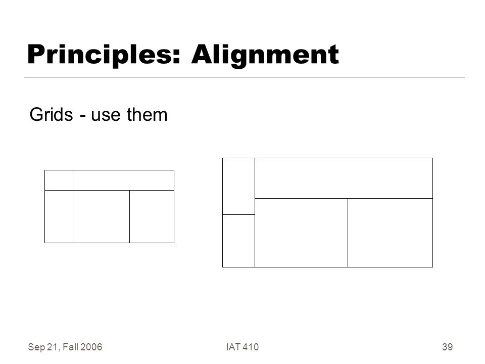 Sep 21, Fall 2006IAT 41039 Principles: Alignment Grids - use them