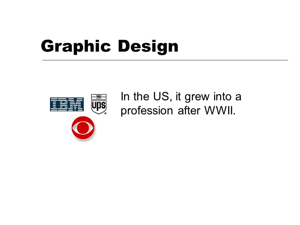 Graphic Design In the US, it grew into a profession after WWII.