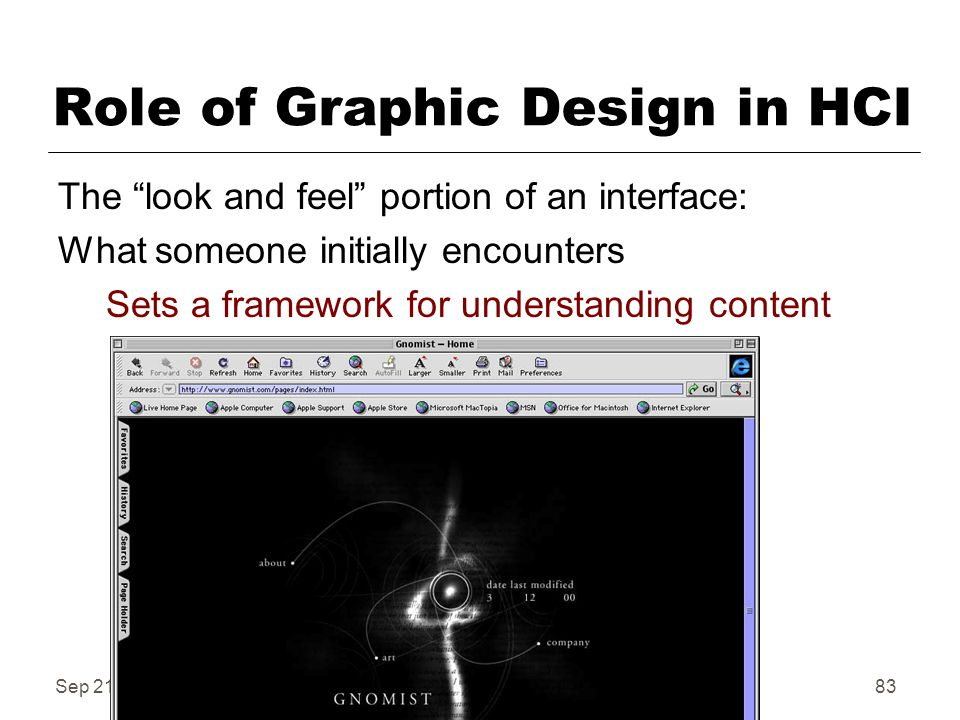 Sep 21, Fall 2006IAT 41083 Role of Graphic Design in HCI The look and feel portion of an interface: What someone initially encounters Sets a framework for understanding content