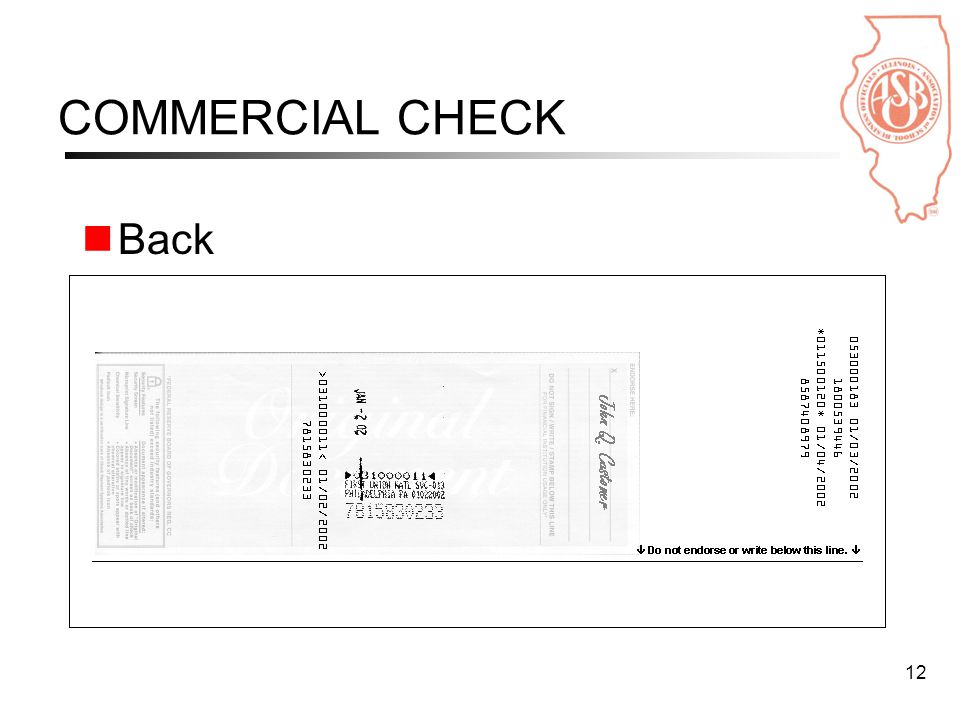 12 COMMERCIAL CHECK Back