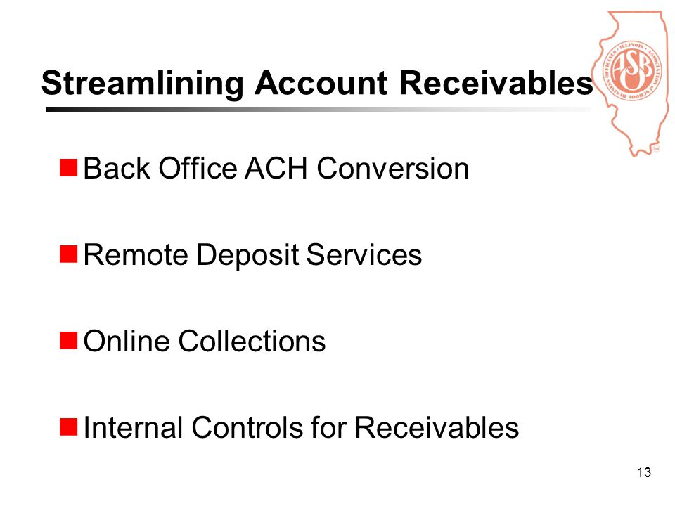 13 Streamlining Account Receivables Back Office ACH Conversion Remote Deposit Services Online Collections Internal Controls for Receivables