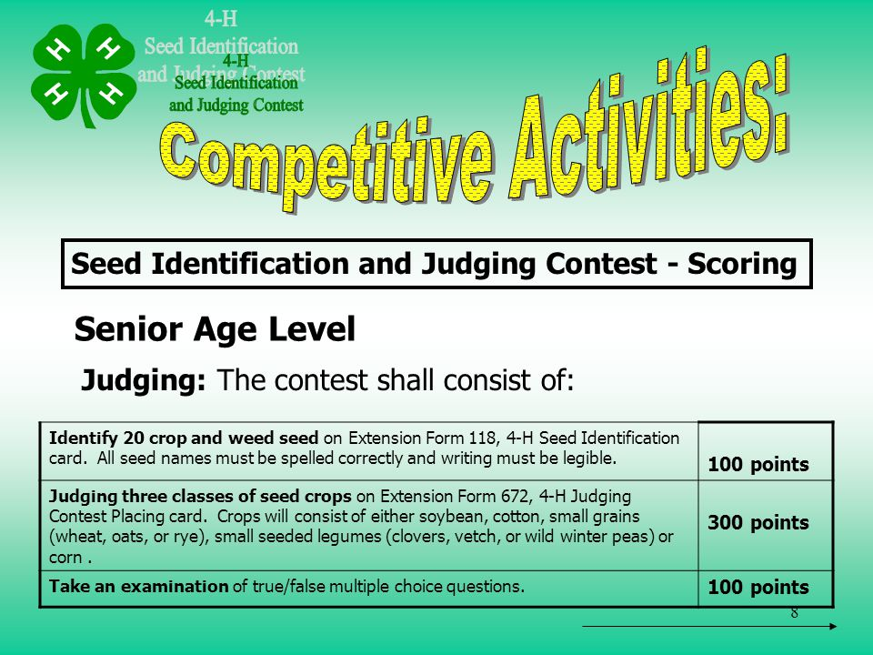 9 For more information: Contact Your County Extension 4-H Agent
