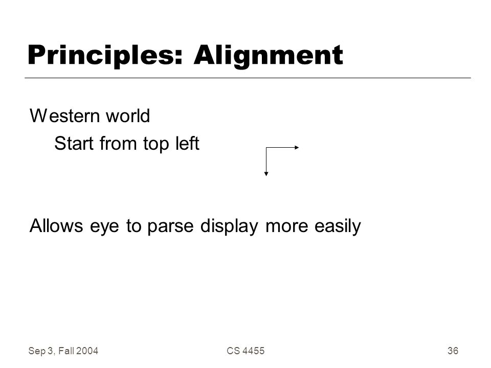 Sep 3, Fall 2004CS 445536 Principles: Alignment Western world Start from top left Allows eye to parse display more easily