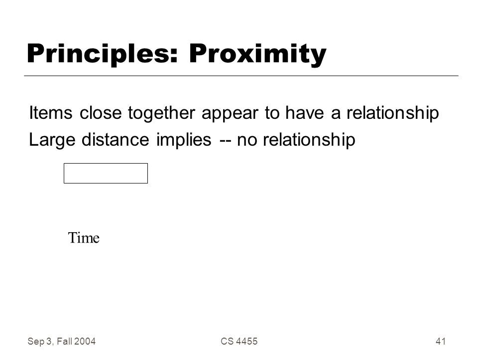 Sep 3, Fall 2004CS 445541 Principles: Proximity Items close together appear to have a relationship Large distance implies -- no relationship Time