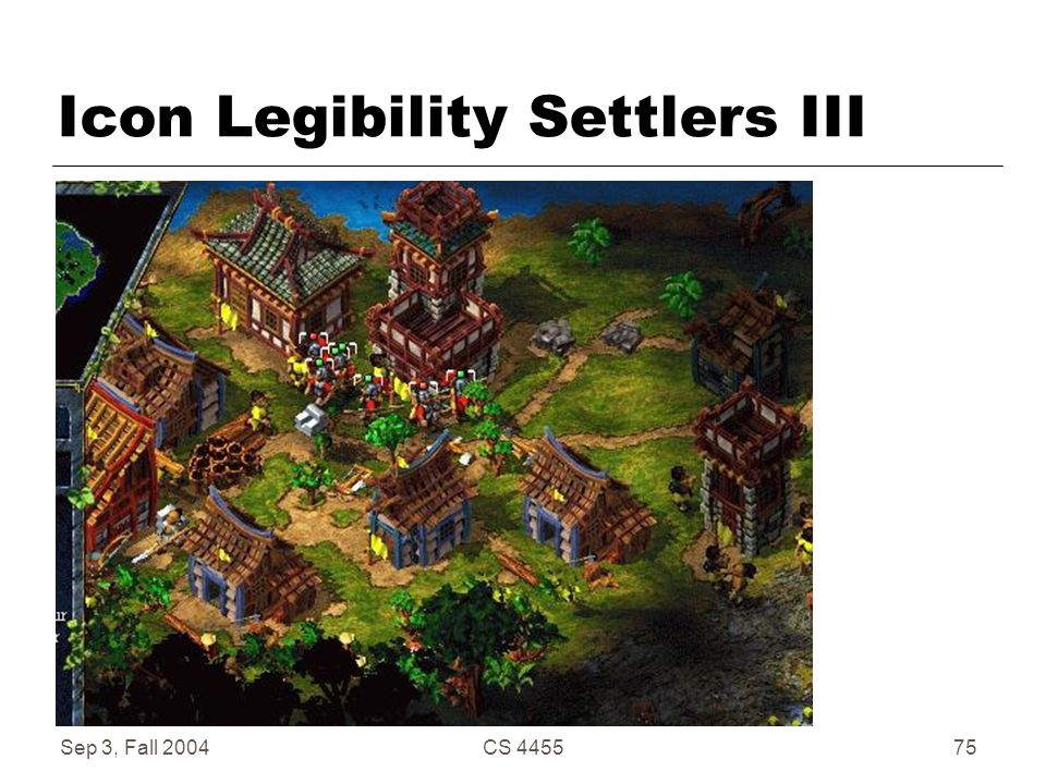 Sep 3, Fall 2004CS 445575 Icon Legibility Settlers III