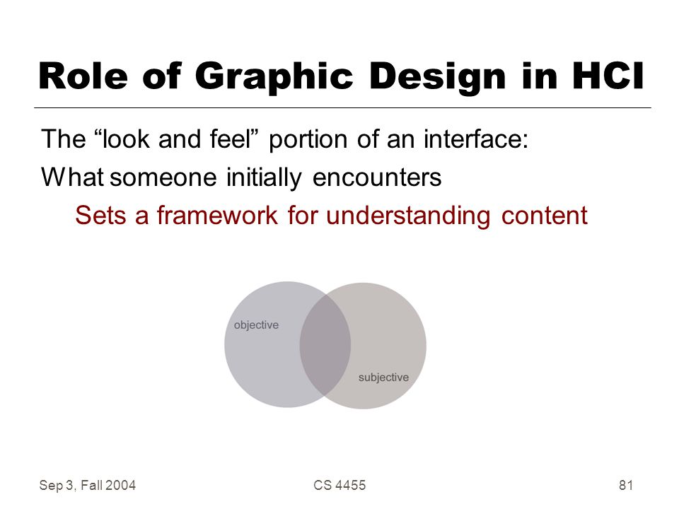 "Sep 3, Fall 2004CS 445581 Role of Graphic Design in HCI The ""look and feel"" portion of an interface: What someone initially encounters Sets a framewor"