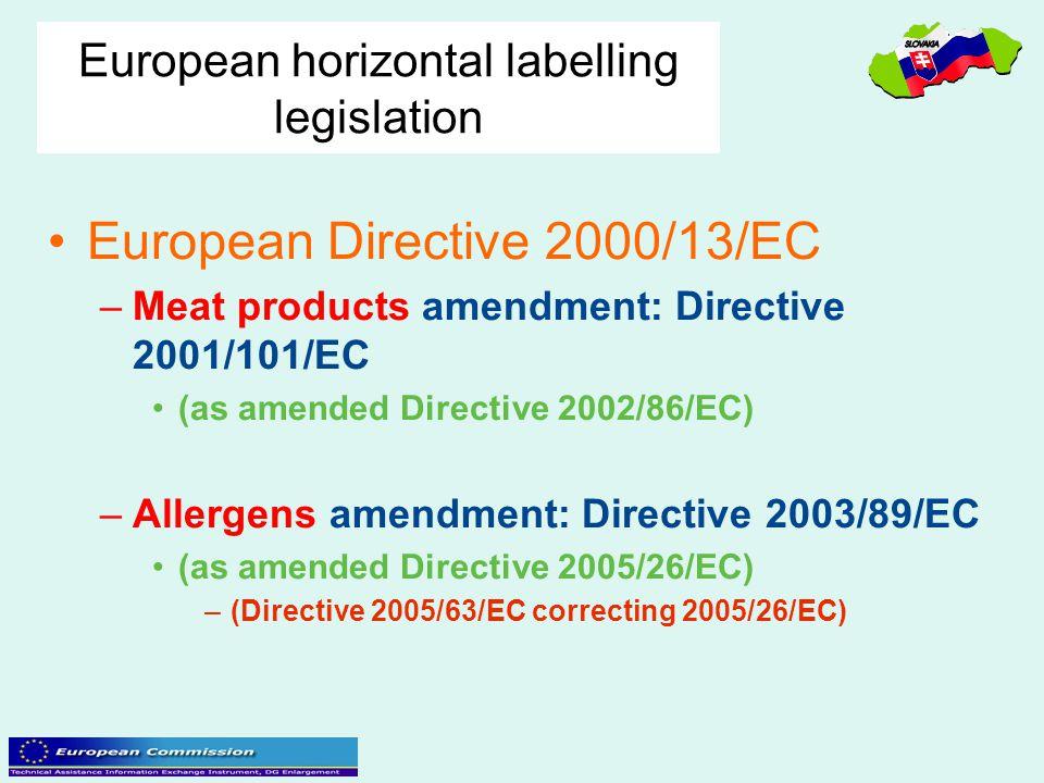 European horizontal labelling legislation European Directive 2000/13/EC –Meat products amendment: Directive 2001/101/EC (as amended Directive 2002/86/