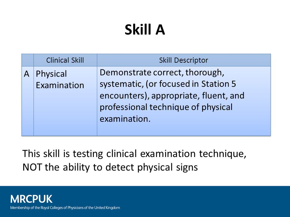 Assess candidates on their approach to the solution of the clinical problem posed by the specific case – Good differential diagnosis of the wrong signs should not be regarded as Satisfactory – Good management of the wrong condition should not be regarded as Satisfactory Examiners may try to bring candidates back towards the correct diagnosis if they are on the right lines but usually, at most, a Borderline mark should be given for Skills D and E if Skill B has been marked Unsatisfactory Linked skills marking