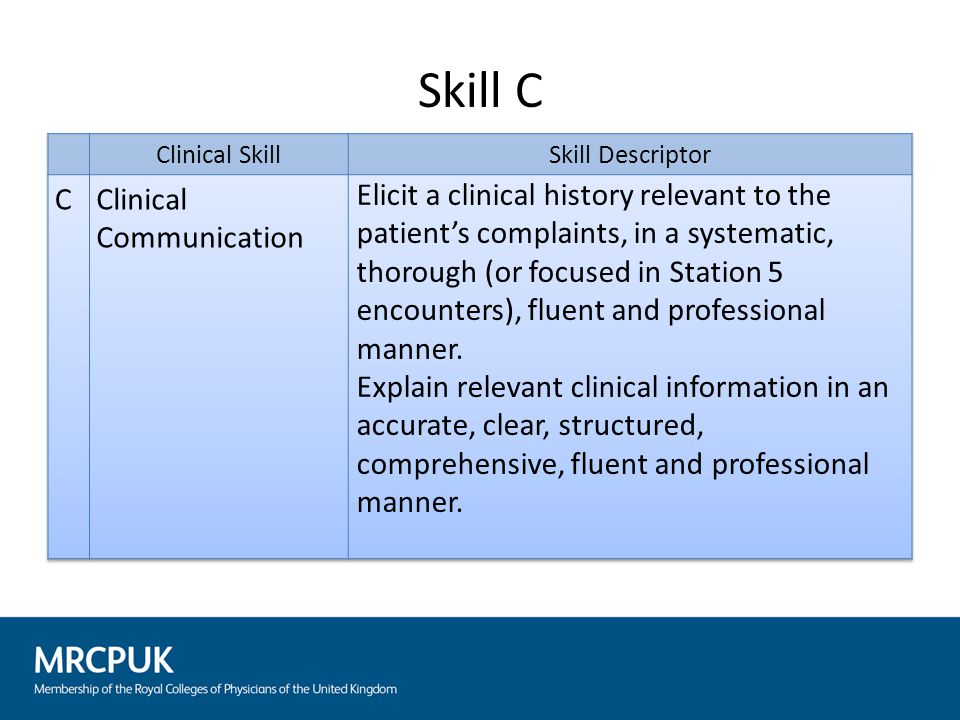 This skill is tested at stations 2, 4 and 5 During pre-cycle calibration it is important that the scenario is rehearsed with the surrogate/patient to ensure consistency of responses Ensure surrogate/patient can answer any questions the candidate is likely to ask