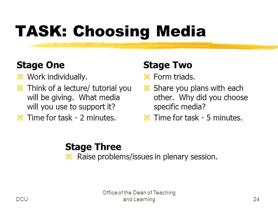 DCU Office of the Dean of Teaching and Learning24 TASK: Choosing Media Stage One zWork individually. zThink of a lecture/ tutorial you will be giving.