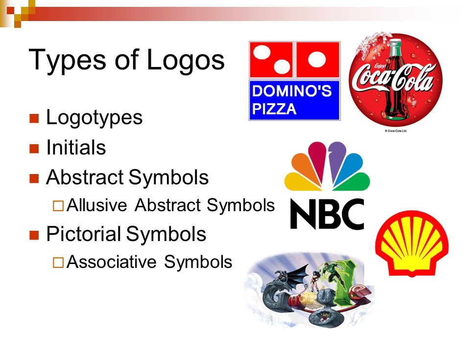 Types of Logos Logotypes Initials Abstract Symbols  Allusive Abstract Symbols Pictorial Symbols  Associative Symbols