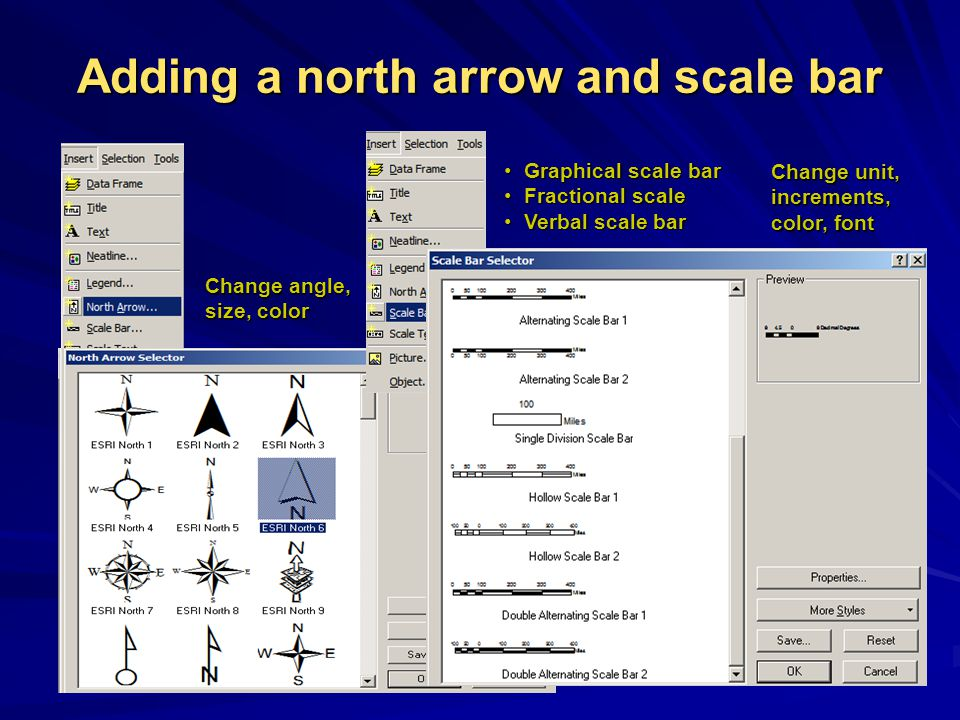 Adding a north arrow and scale bar Graphical scale bar Graphical scale bar Fractional scale Fractional scale Verbal scale bar Verbal scale bar Change angle, size, color Change angle, size, color Change unit, increments, color, font