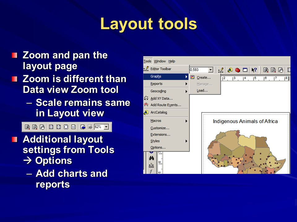 Layout tools Zoom and pan the layout page Zoom is different than Data view Zoom tool –Scale remains same in Layout view Additional layout settings from Tools  Options –Add charts and reports