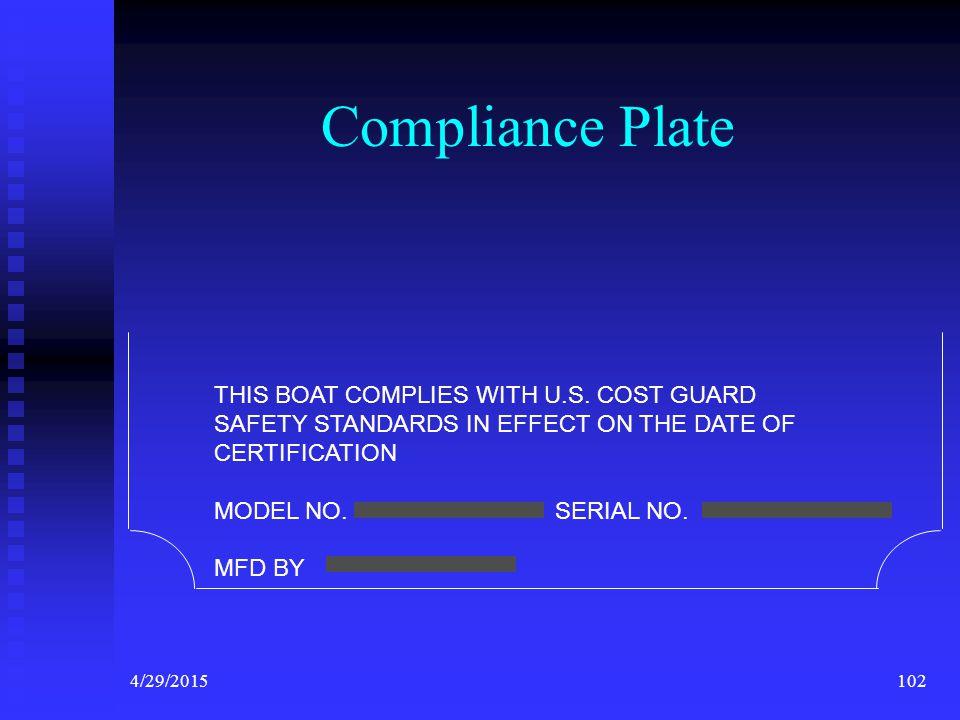4/29/2015101 Capacity Plate for Inboards U.S. COAST GUARD CAPACITY INFORMATION MAXIMUM PERSONS CAPACITY (POUNDS) MAXIMUM WEIGHT CAPACITY PERSONS MOTOR