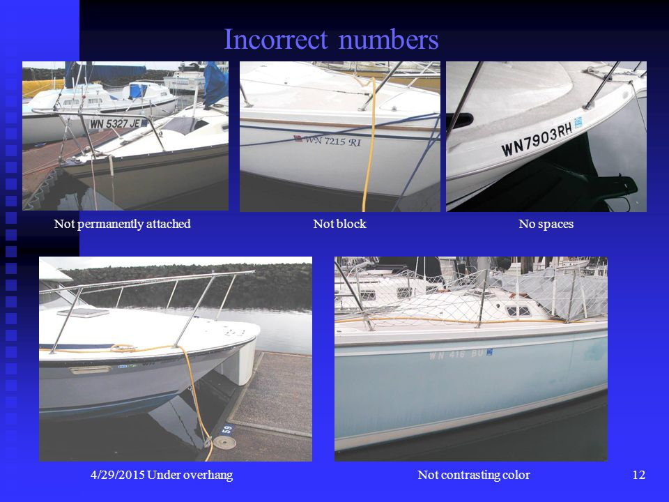 4/29/201511 Boat Numbers WN 1234 AB CHARACTERS Block not less than 3 inches high COLOR Must be of a Color Contrasting to the Background SPACING Hyphen
