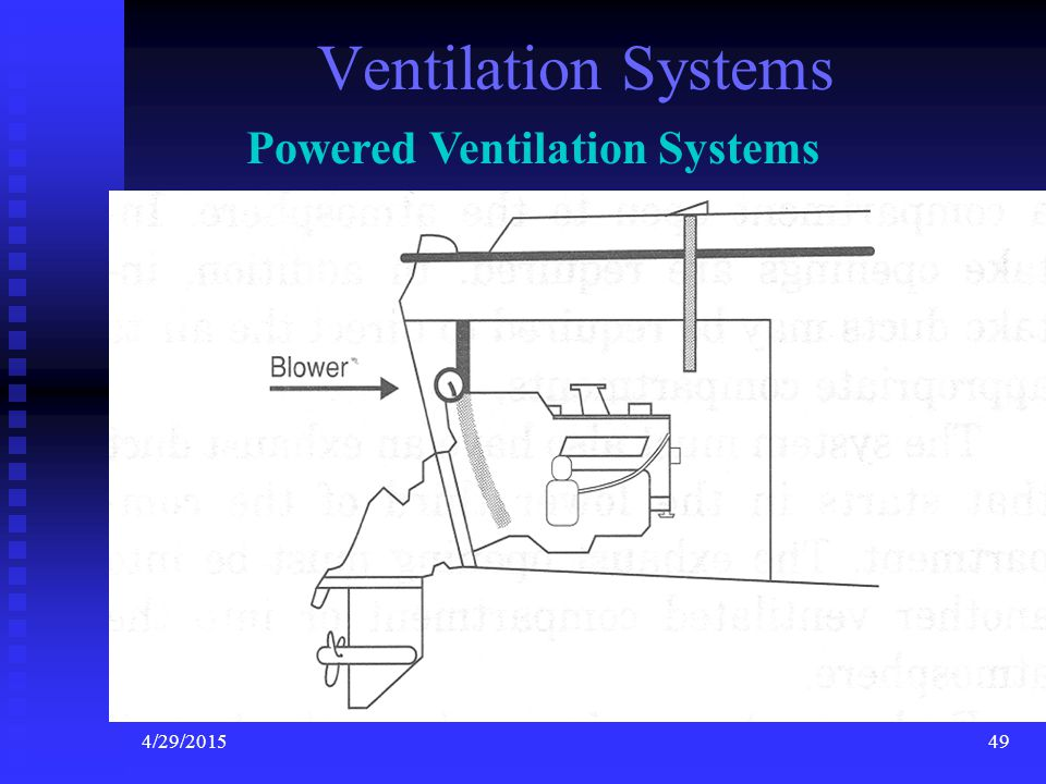 4/29/201548 Ventilation Ventilation is not required in open boats. (Engine and Fuel tank are out in the open.)