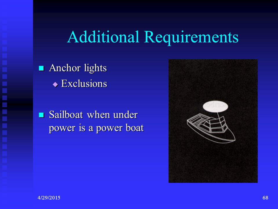 4/29/201567 Sail <23 feet and Vessel under oars may: Carry a flashlight or lantern showing a white light that could be displayed in time to prevent a collision Carry a flashlight or lantern showing a white light that could be displayed in time to prevent a collision