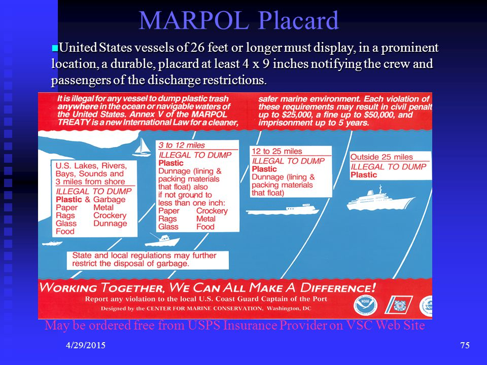 4/29/201574 MARPOL Placard Requirements United States vessels of 26 feet or longer must display, in a prominent location, a durable, placard at least 4 x 9 inches notifying the crew and passengers of the discharge restrictions.