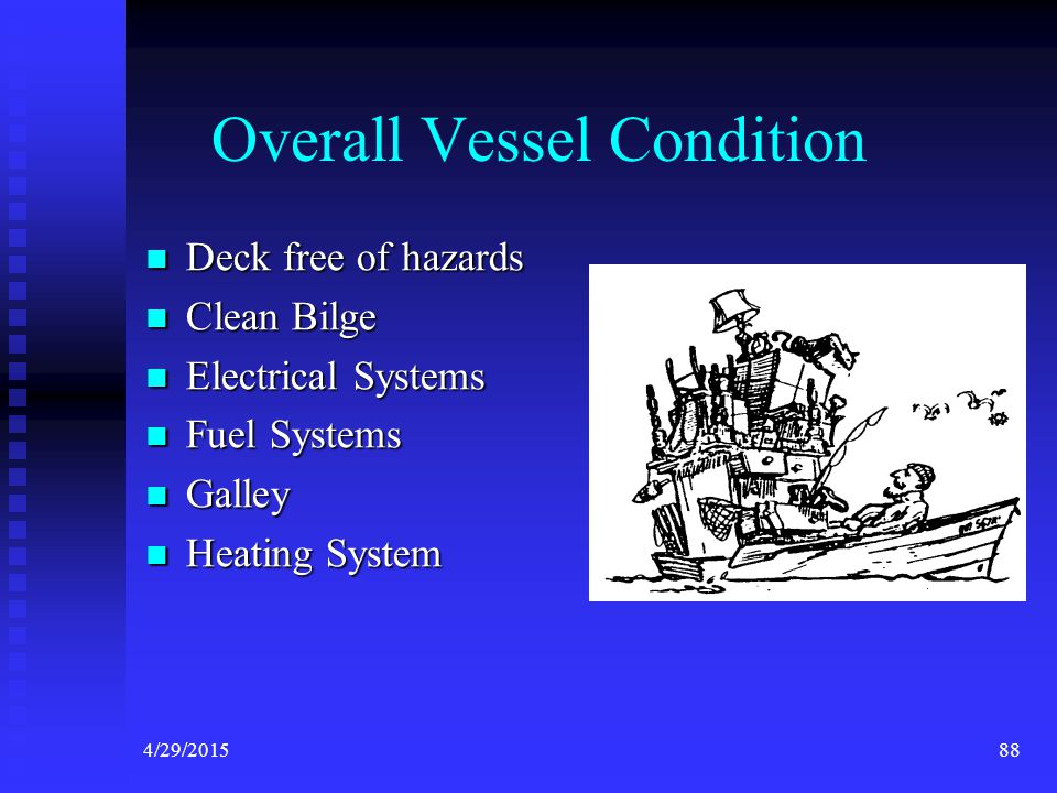 4/29/201587 Overall Vessel Condition The vessel must be in safe overall condition in order to meet the final requirement for the VSC decal. The vessel