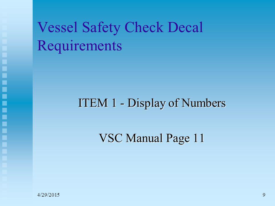 4/29/201519 Vessel Safety Check ITEM 2 – Registration / Documentation VSC Manual Page 11
